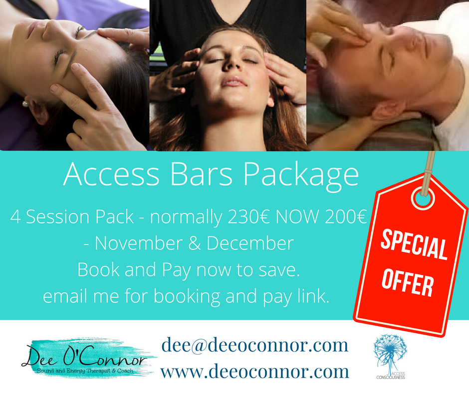 Access Bars Package 4 sessions normally 230 Euro now 200 Euro Book and Pay now to save.email me for bookings and pay link